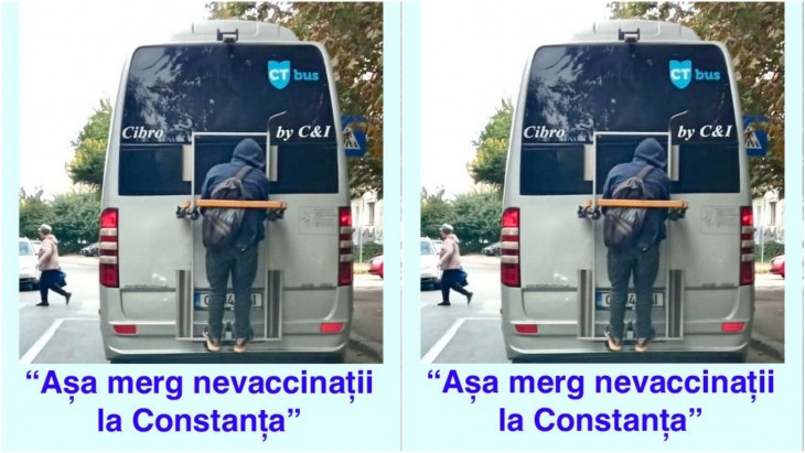 Constanța sălbatică: Tânăr agățat de spațiul dedicat bicicletelor, în exteriorul unui microbuz CT BUS, neobservat de șofer