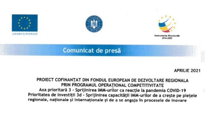 Comunicat de presă. PROIECT COFINANȚAT DIN FONDUL EUROPEAN DE DEZVOLTARE REGIONALA PRIN PROGRAMUL OPERAȚIONAL COMPETITIVITATE
