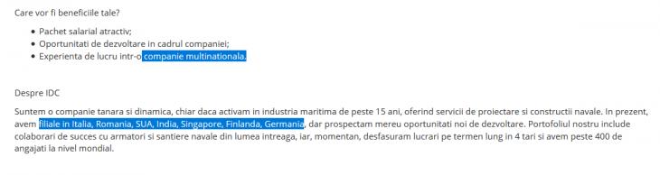 Anunț de angajare IDC Consorzio - BestJobs Romania