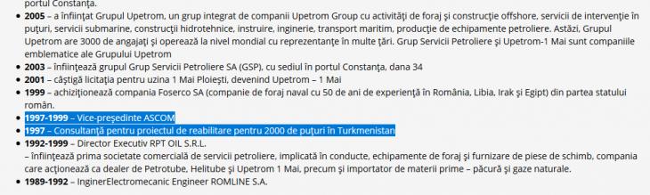 Faximil din CV-ul lui Gabriel Comănescu