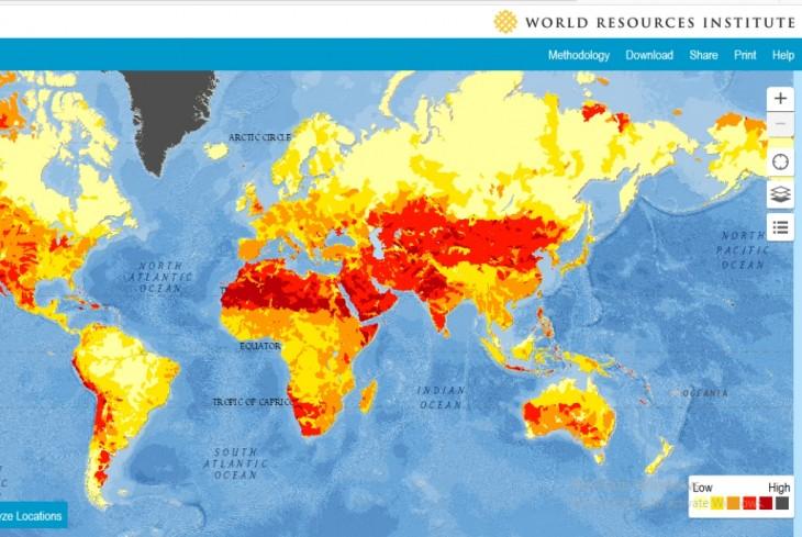 Harta zonelor afectate de lipsa apei – Sursa WRI (CLICK AICI)