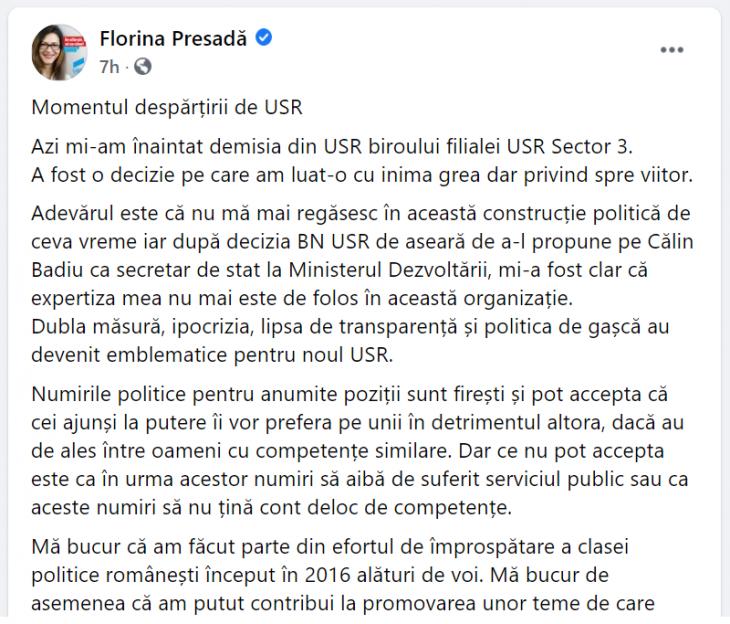 Postarea Florinei Presadă - FaceBook 12.02.2020